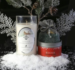 snowed in candle and winter beads