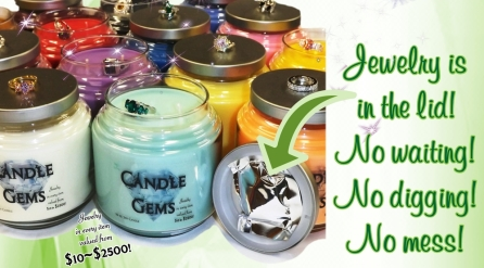 Not your traditional jewelry candle! These candles have your new piece of jewelry in the lid